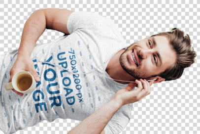 Transparent V-Neck Tee Mockup Featuring a Man Lying on a Bed Listening to Music 43896-r-el2