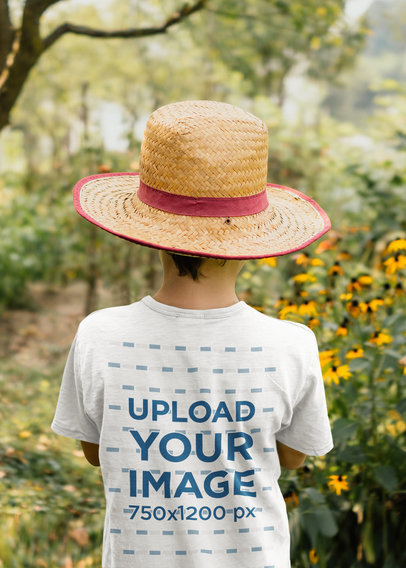 Transparent Back View Mockup of a Boy Standing at a Tomato Field 35513-r-el2