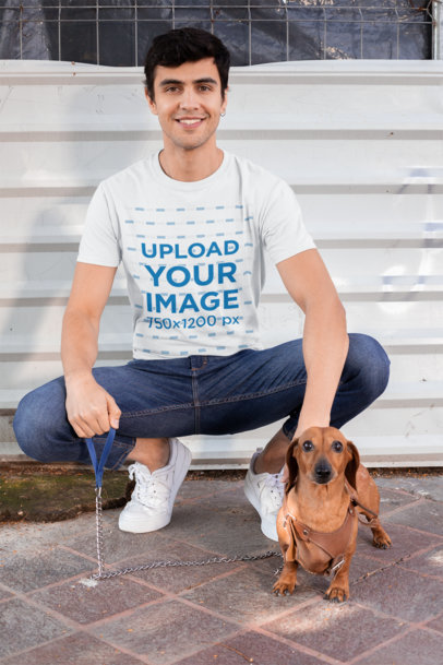 Transparent T-Shirt Mockup of a Man Posing with His Dog 30684
