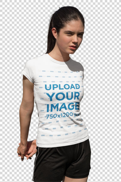 Transparent T-Shirt Mockup of a Teen Girl in a Soccer Field 33560