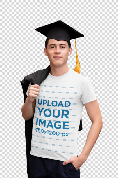 Transparent T-Shirt Mockup of a Young Man on His Graduation Day 32628