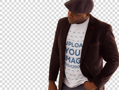 Transparent Tshirt Mockup of a Senior Man Wearing a Beret at an Art Exhibition 21467