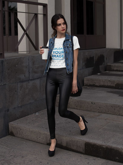 Transparent Fashion Girl Walking in the Morning Wearing a Round Neck Tee Mockup a17356