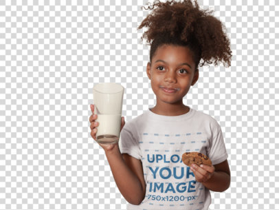 Transparent T-Shirt Mockup of a Black Child Having a Glass of Milk and a Cookie a21327