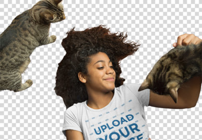 Transparent T-Shirt Mockup of a Woman Playing with Her Cats 39423-r-el2