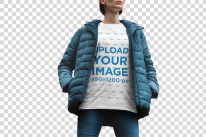 Transparent Mockup of a Woman Wearing a T-Shirt in Chilly Weather 1852-el1