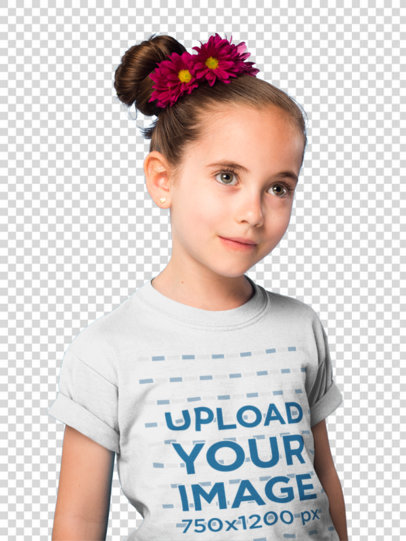 Transparent Portrait of a Beautiful Girl Wearing a T-Shirt Mockup Against a Blue Wall a19736