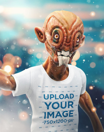 Transparent Illustrated Mockup of an Orange Alien Taking a Selfie with a T-Shirt 41147
