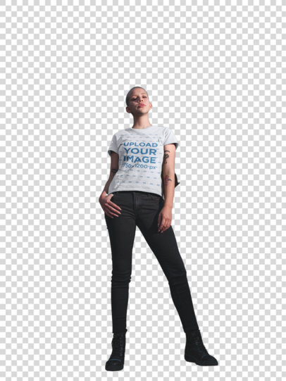 Transparent T-Shirt Mockup of a Beautiful Woman with a Buzz Cut Haircut in Front of a Building 18122