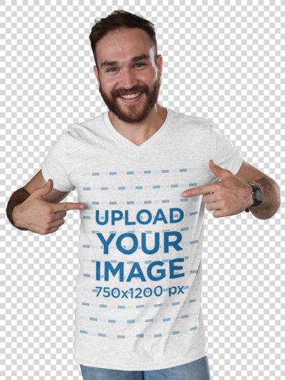Transparent Mockup of a Man Pointing At His Heathered T-Shirt 28737