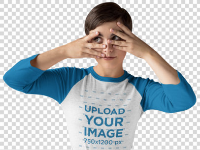 Transparent Girl Touching her Face While Wearing a Raglan Tee Mockup in a Studio a17533
