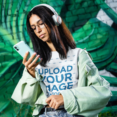 Transparent T-Shirt Mockup Featuring a Young Woman Listening to Music 45095-r-el2