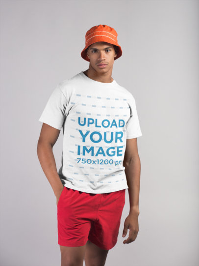 Transparent T-Shirt Mockup of a Man Wearing Beach Clothing 21072