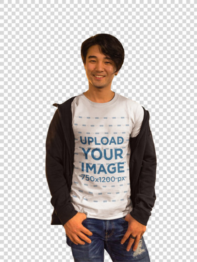 Transparent Happy Asian Man Wearing a Round Neck Tshirt Template While in the Street a17808