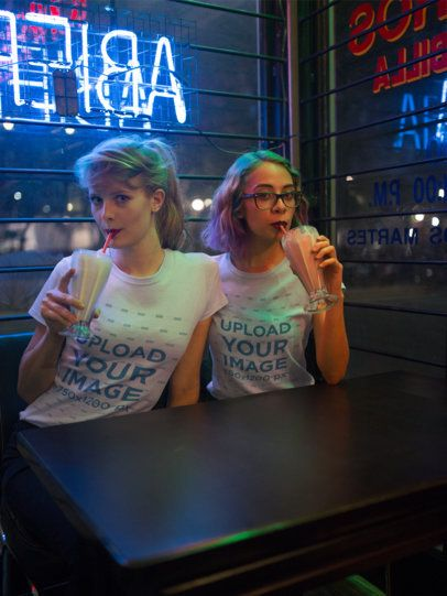 Friends Drinking While Wearing Round Neck Tees Mockup a16426