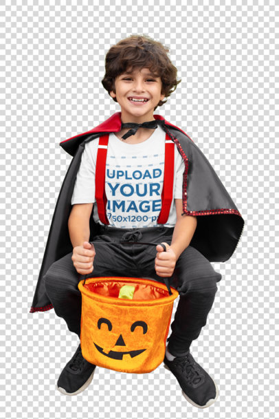 Transparent Mockup of a Boy Wearing a T-Shirt and Holding His Pumpkin Basket 29302
