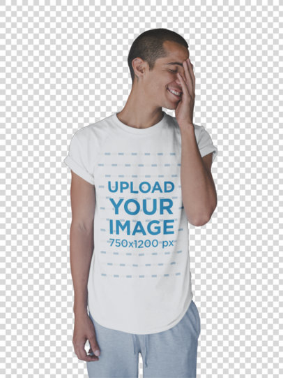Transparent Smiling Dude Wearing a T-Shirt Template After the Yoga Class a19968