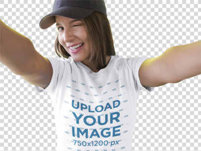 Transparent Selfie of a Beautiful Girl Wearing a T-Shirt Mockup While Smiling a16906