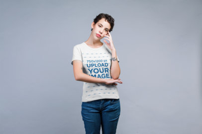 Transparent Crewneck Tee Mockup of a Female Model with a Tattoo Posing in Studio 21791