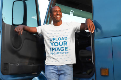 Transparent T-Shirt Mockup of a Truck Driver in the Cabin 29473