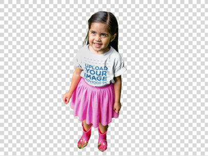 Transparent Round Neck Tee Mockup of a Little Girl in a Pink Skirt a12101