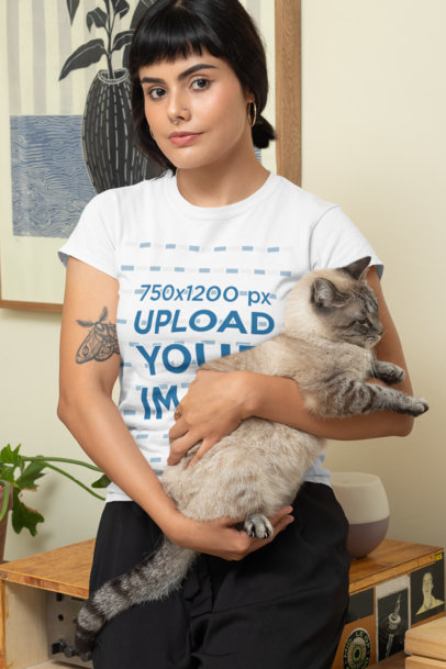 Transparent Mockup of a Woman Wearing a T-Shirt and Carrying Her Cat 30673