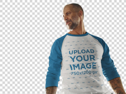 Transparent Raglan T-Shirt Mockup of a White Middle-Aged Man Standing Inside a City Building a12615
