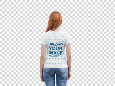 Transparent Back Shot T-Shirt Mockup of a Girl Facing a White Metal Door 20748