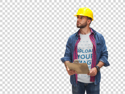 Transparent Worker Wearing a Tshirt Mockup Checking the Stock a20443