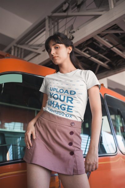 Transparent T-Shirt Mockup of a Girl Wearing a Skirt with Buttons 19625