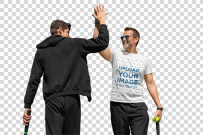 Transparent T-Shirt Mockup of a Man Playing Tennis with His Son 33103
