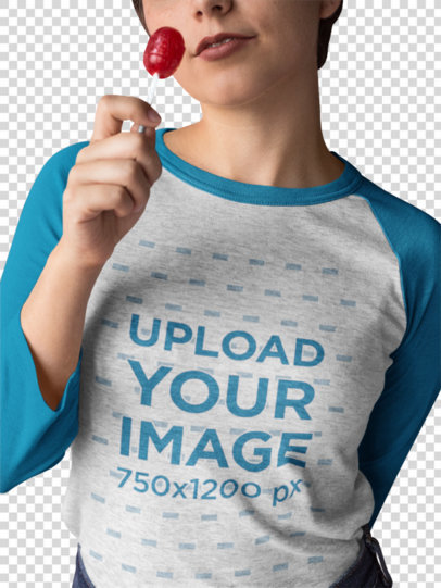 Transparent Girl Wearing a Raglan Tee Template while Holding a Lollipop a17526