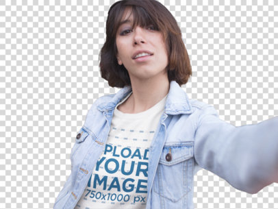 Transparent Selfie Template of a Young Short-Haired Girl Wearing a Round Neck Tee and a Denim Jacket on Top a13572