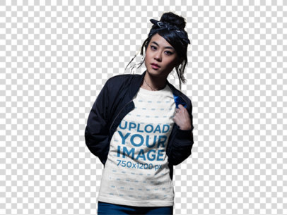 Transparent Asian Girl Wearing a Tshirt Mockup While on the Street at Night a17784