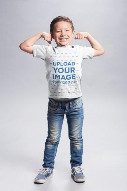 Transparent Asian Boy Wearing a T-Shirt Mockup Flexing his Biceps a20937