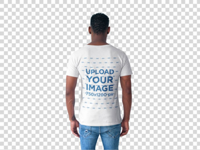 Transparent Back Shot Tshirt Mockup of a Man Facing a White Wall 20739