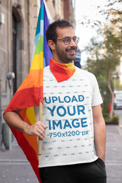 Transparent T-Shirt Mockup of a Man Carrying an LGBTQ Pride Flag 32956