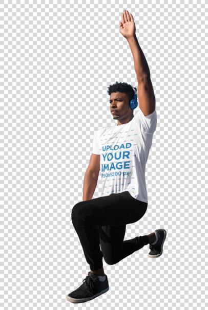 Transparent Mockup of a Man Exercising with an Activewear T-Shirt 38640-r-el2