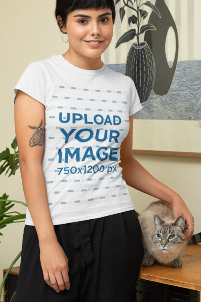 Transparent T-Shirt Mockup Featuring a Woman with Her Cat at Home 30674