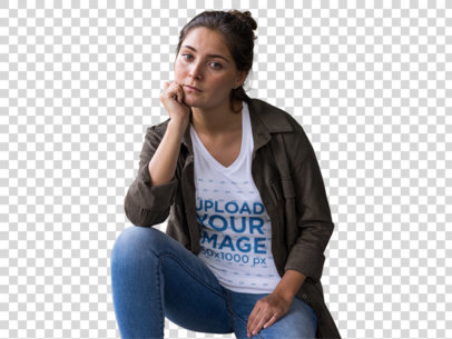 Transparent V-Neck Tee Mockup of a Woman Patiently Waiting 11852