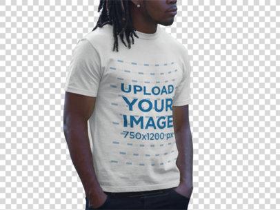 Transparent Tshirt Mockup of a Man with Dreadlocks at Urban Setting a8767