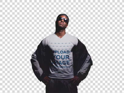 Transparent V-Neck Tee Mockup of an Urban Guy at a Basketball Court a12156
