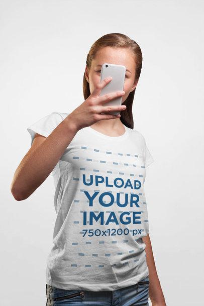 Transparent T-Shirt Mockup of a Woman Taking a Mirror Selfie 4447-el1