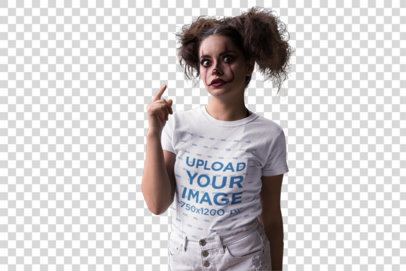 Transparent Round Neck Tee Mockup of a Girl with Halloween Clown Makeup 22918