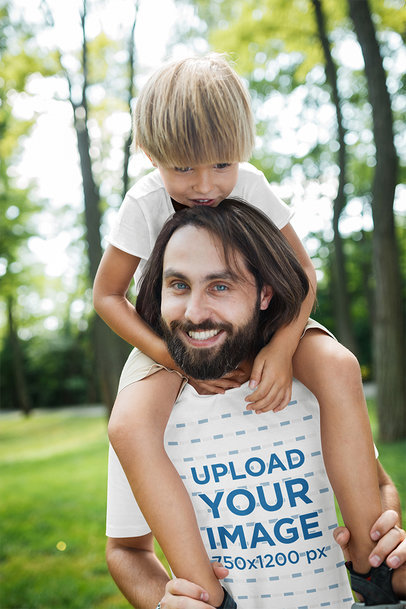 Transparent T-Shirt Mockup of a Father Playing with His Son 37527-r-el2