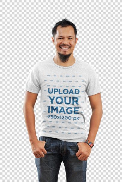 Transparent Heathered T-Shirt Mockup Featuring a Smiling Man Posing 39587-r-el2