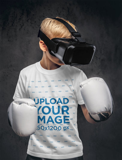 Transparent T-Shirt Mockup Featuring a Boy With a VR Headset and Boxing Gloves 37693-r-el2