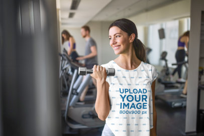 Transparent Mockup of a Woman Wearing a Sublimated T-Shirt at the Gym 40008-r-el2