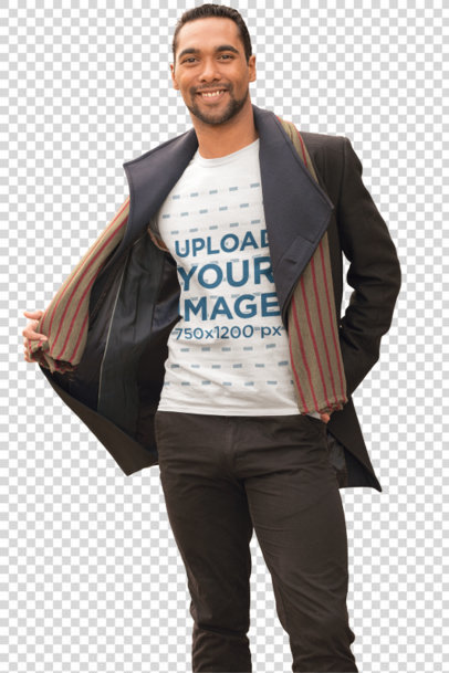 Transparent T-Shirt Mockup of a Happy Man Wearing a Cool Fall Outfit 31828