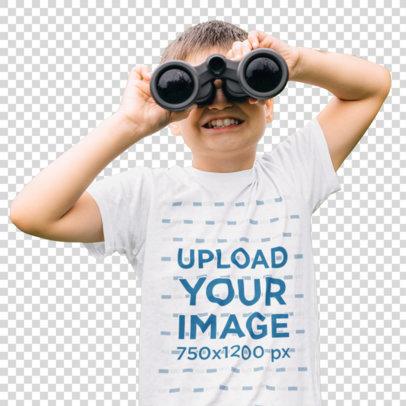 Transparent T-Shirt Mockup Featuring a Boy with Binoculars m1464-r-el2